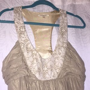 Gold and lace Anthropology dress NWOT